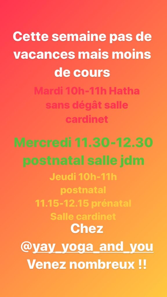 Planning cours 22 octobre 2019